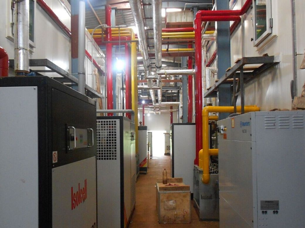 Controlled Atmosphere cold Storage project Machine Room area with pipeline